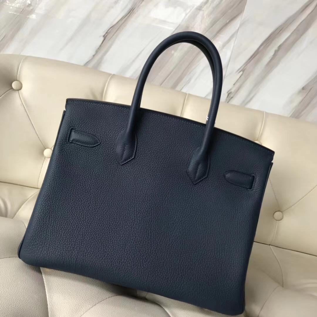 Wholesale Hermes 7K Blue Saphir Togo CalfLeather Birkin30CM Bag Gold Hardware