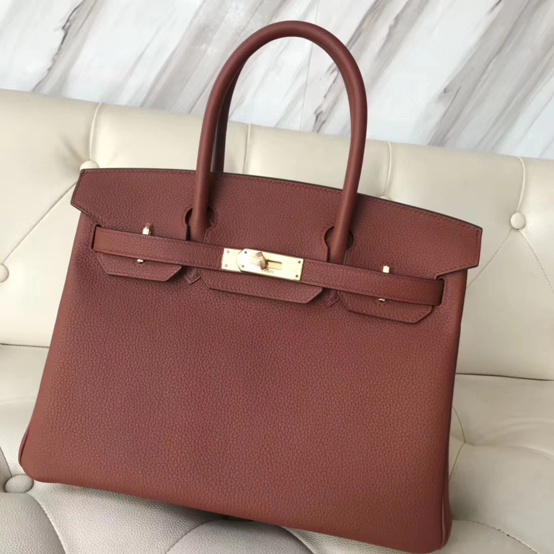Noble Hermes Togo CalfLeather Birkin30CM Women's Handbag in 6C Cuivre Gold Hardware