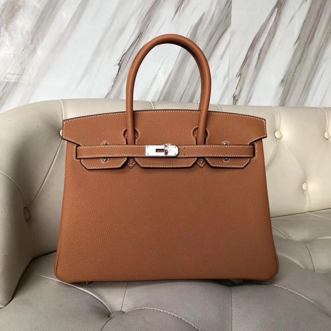 Elegant Hermes 1H Toffee Color Togo Calf Birkin30CM Tote Bag Silver Hardware