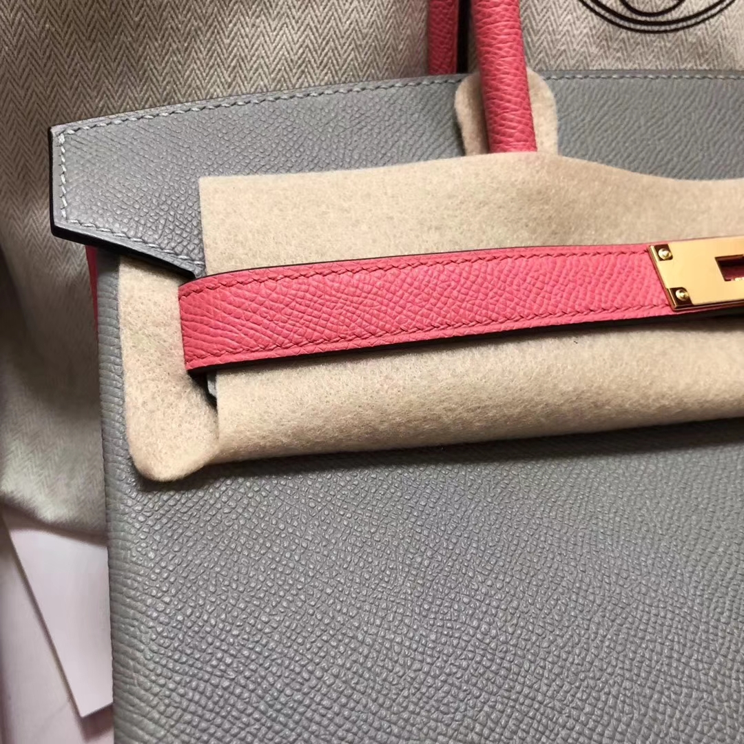 New Hermes 4Z Gris Mouette/8W Rose Azalee Epsom CalfBirkin Bag30CM Gold Hardware