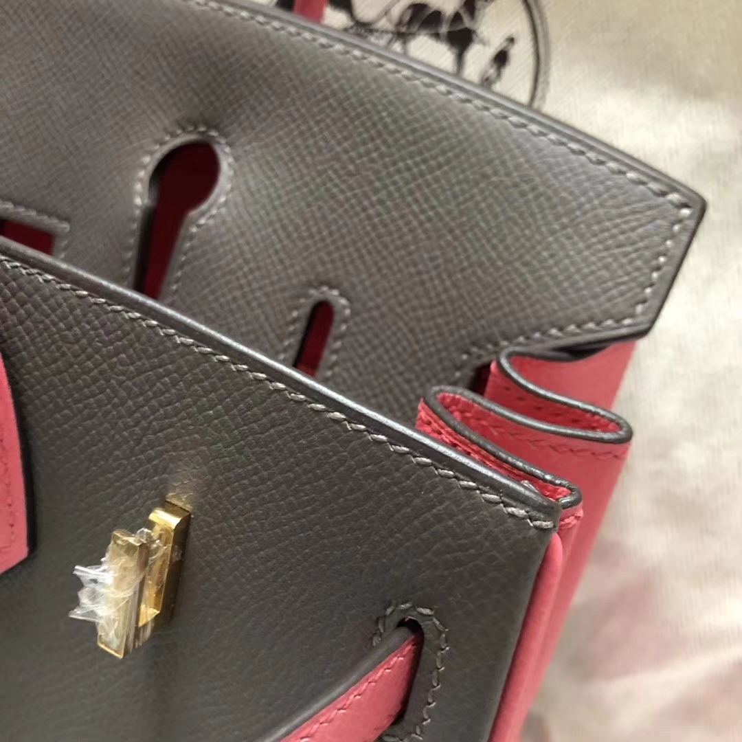 Pretty Hermes Birkin Bag30CM in 8F Etain Grey/8W Rose Azalee Epsom Calf Gold Hardware
