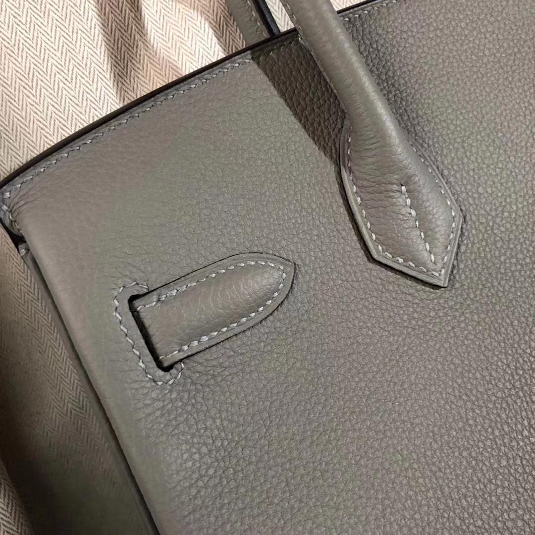 Noble Hermes 4Z Gris Mouette Togo CalfBirkin Bag30CM Gold Hardware