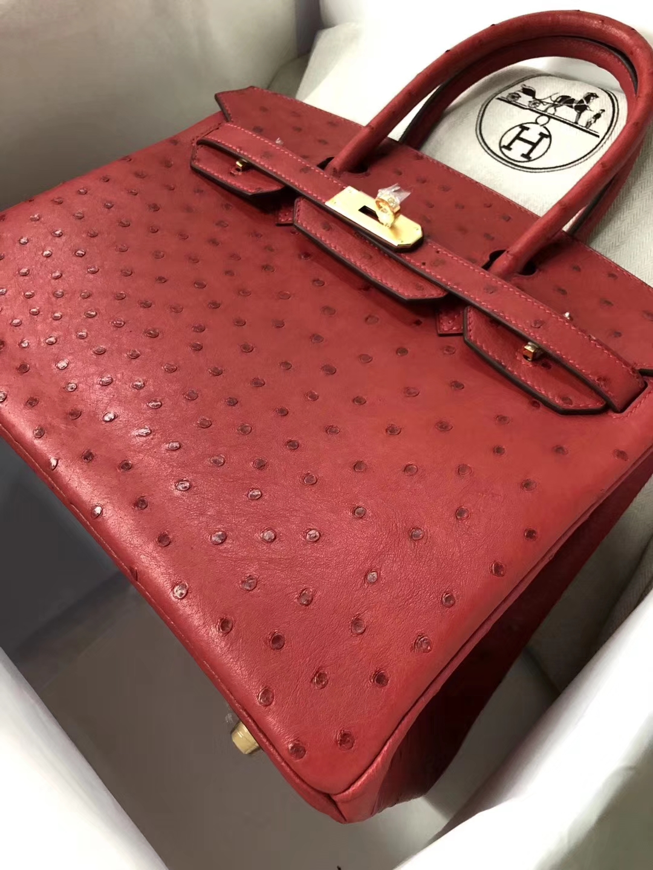 Discount Hermes Q5 Rouge Casaque OstrichLeather Birkin30CM Bag Gold Hardware