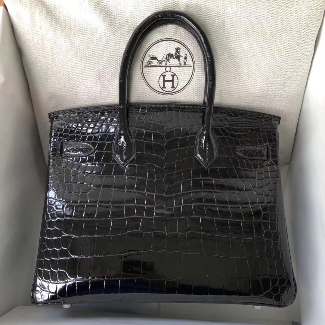 Luxury Hermes CK89 Black Porosus Shiny Crocodile Birkin30CM Bag Silver Hardware