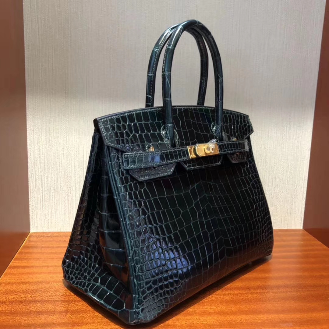 Sale Hermes 1P Blue Blue Colvert ShinyPorosus CrocodileBirkin30CM Bag Gold Hardware