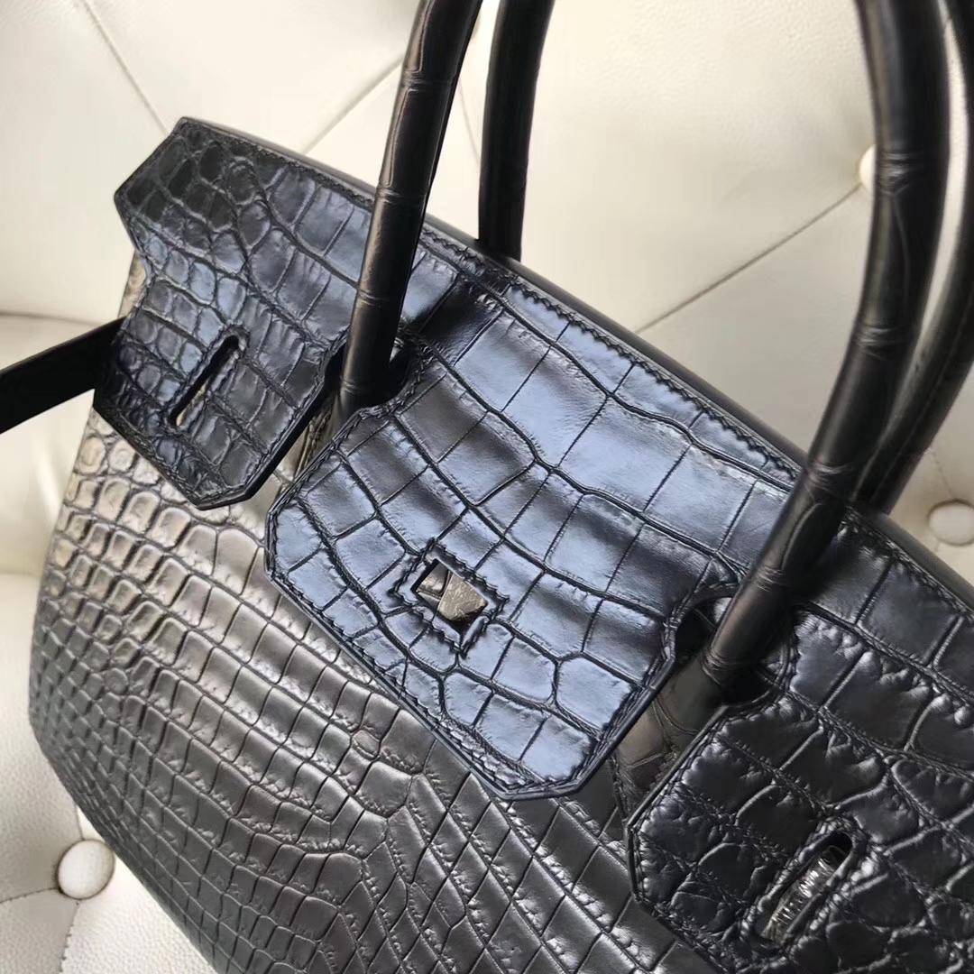 Elegant Hermes Black MattCrocodileLeather Birkin Bag30CM Black Hardware