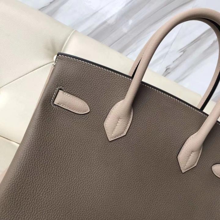 Sale Hermes CK18 Etoupe Grey/S2 Trench Grey Togo Calf Birkin30CM Handbag Gold Hardware