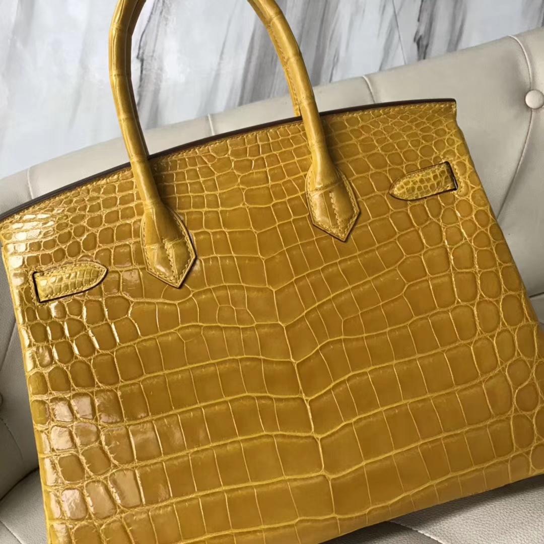 Discount Hermes Porosus Shiny Crocodile Birkin30CM Handbag in 9D Ambre Yellow Gold Hardware