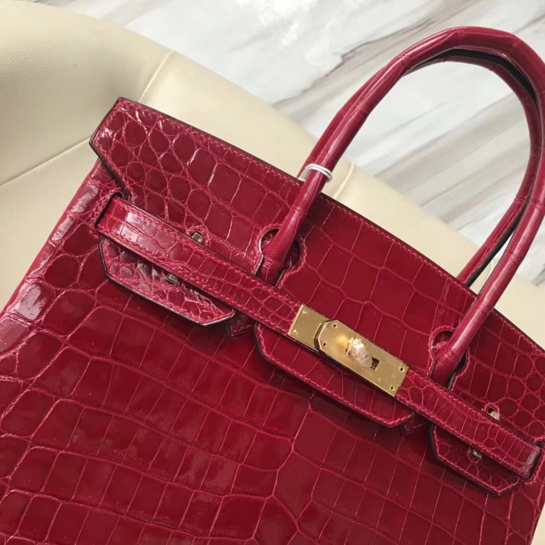 Sale Hermes CK55 Rouge H Shiny Crocodile Birkin Bag30CM Gold Hardware