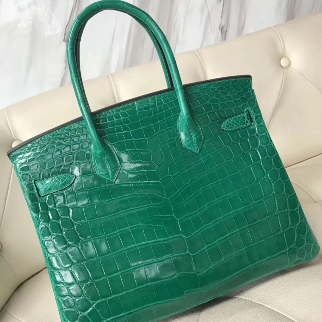 Fashion Hermes 6Q Emerald Green Shiny Crocodile Birkin30CM Bag Gold Hardware