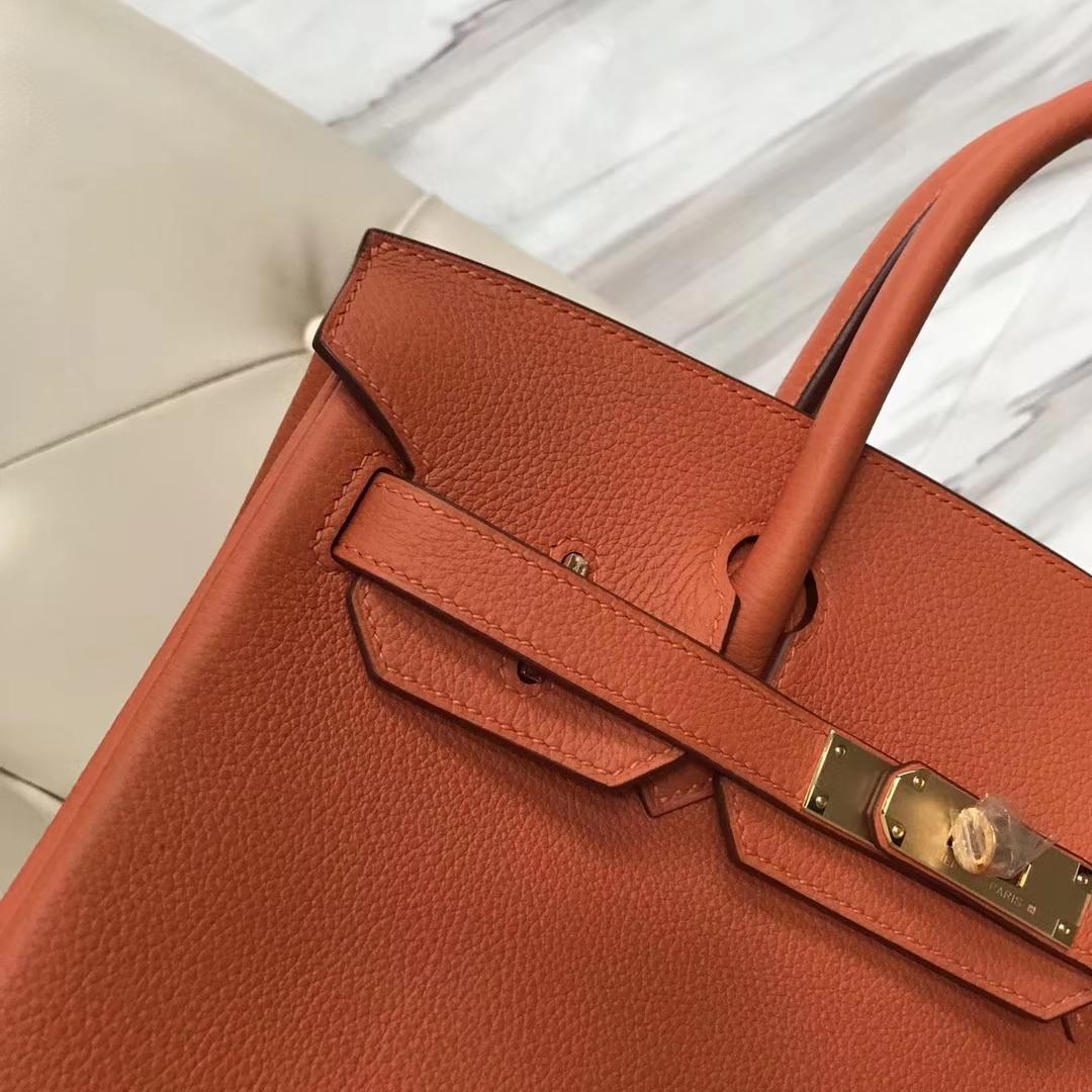 New Arrival Hermes CK93 Orange Togo Calf Birkin Bag30CM Gold Hardware