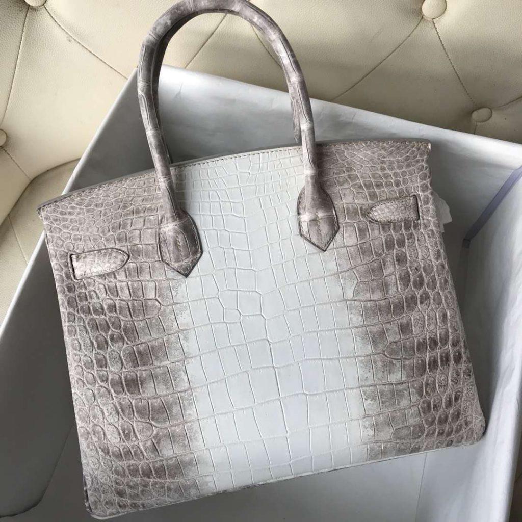 Noble Hermes Himalaya Crocodile Birkin Tote Bag30CM Silver Hardware