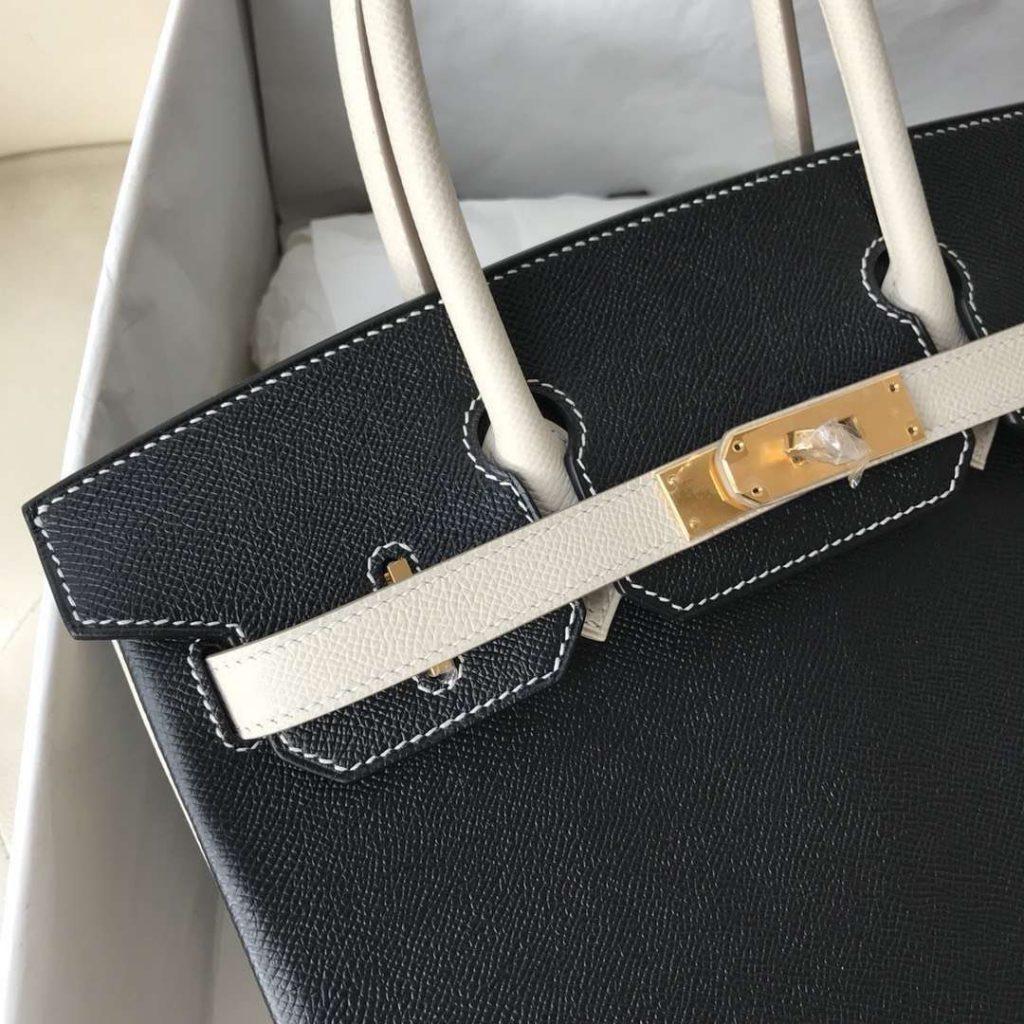 New Hermes CK89 Black/CK10 Craie Epsom Calf Birkin30CM Handbag Gold Hardware