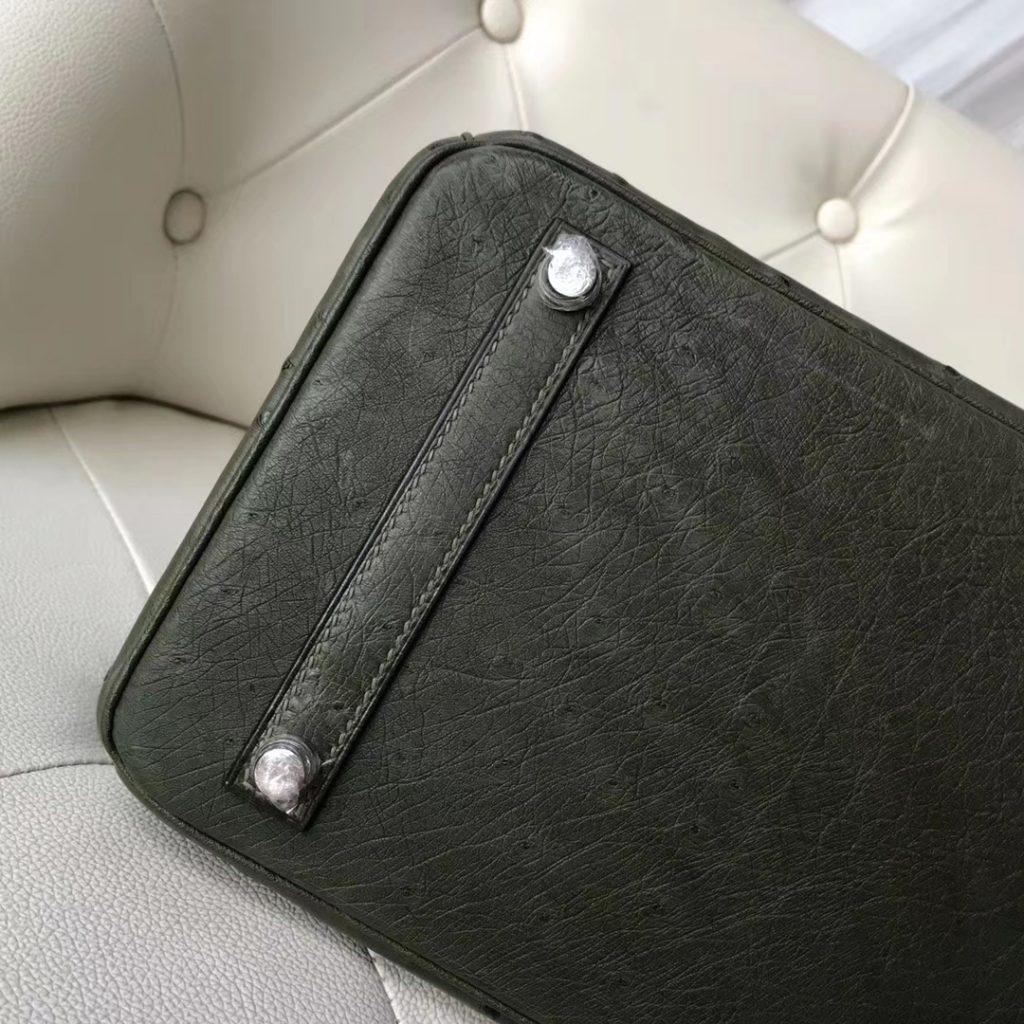 Hand Stitching Hermes V6 Canopee Green Ostrich Birkin30CM Handbag Silver Hardware