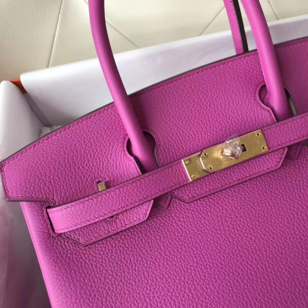Fashion Hermes i9 Rose Magnolia Togo Calf Birkin Bag30CM Gold Hardware