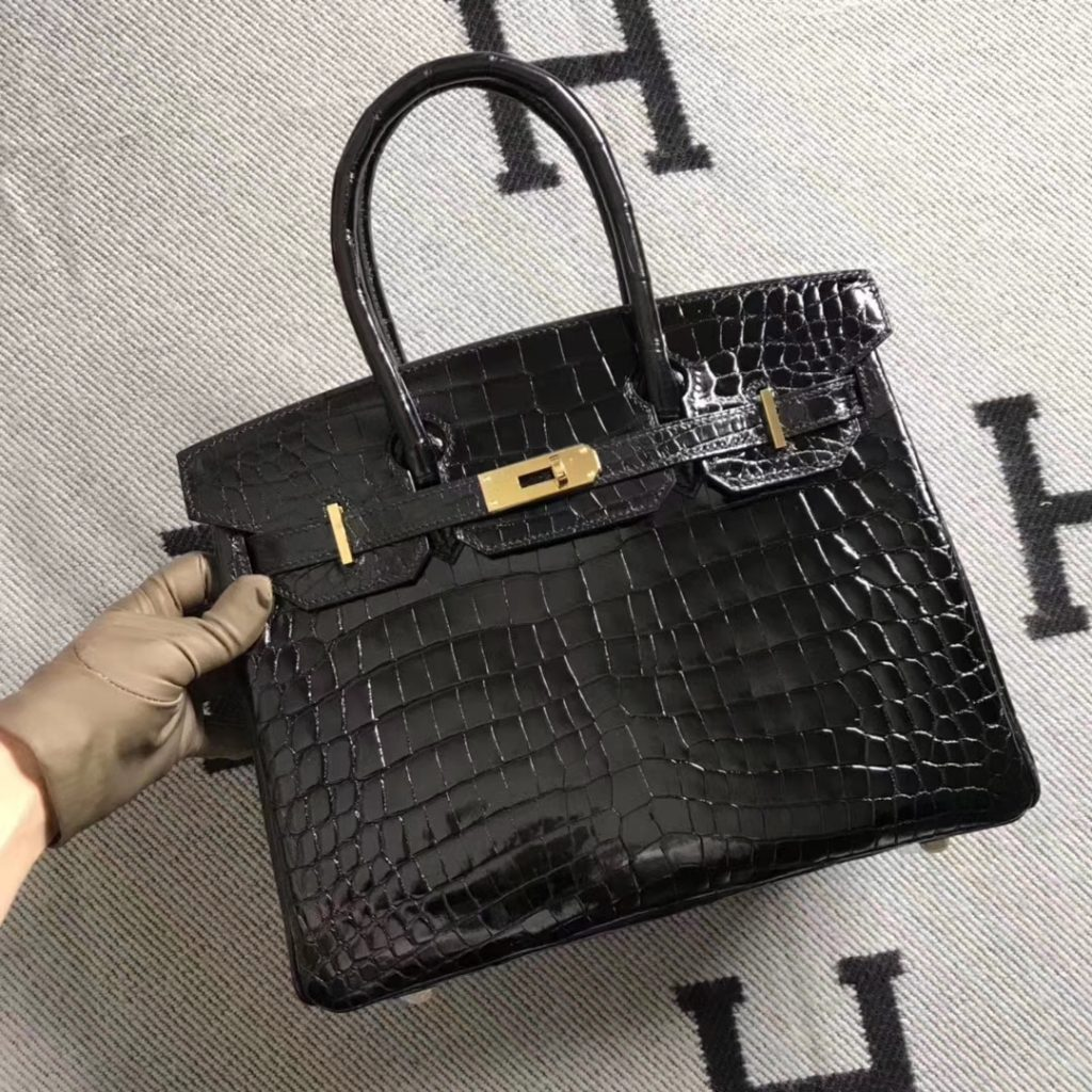 Luxury Hermes Black Shiny Crocodile Birkin30CM Tote Bag Gold Hardware