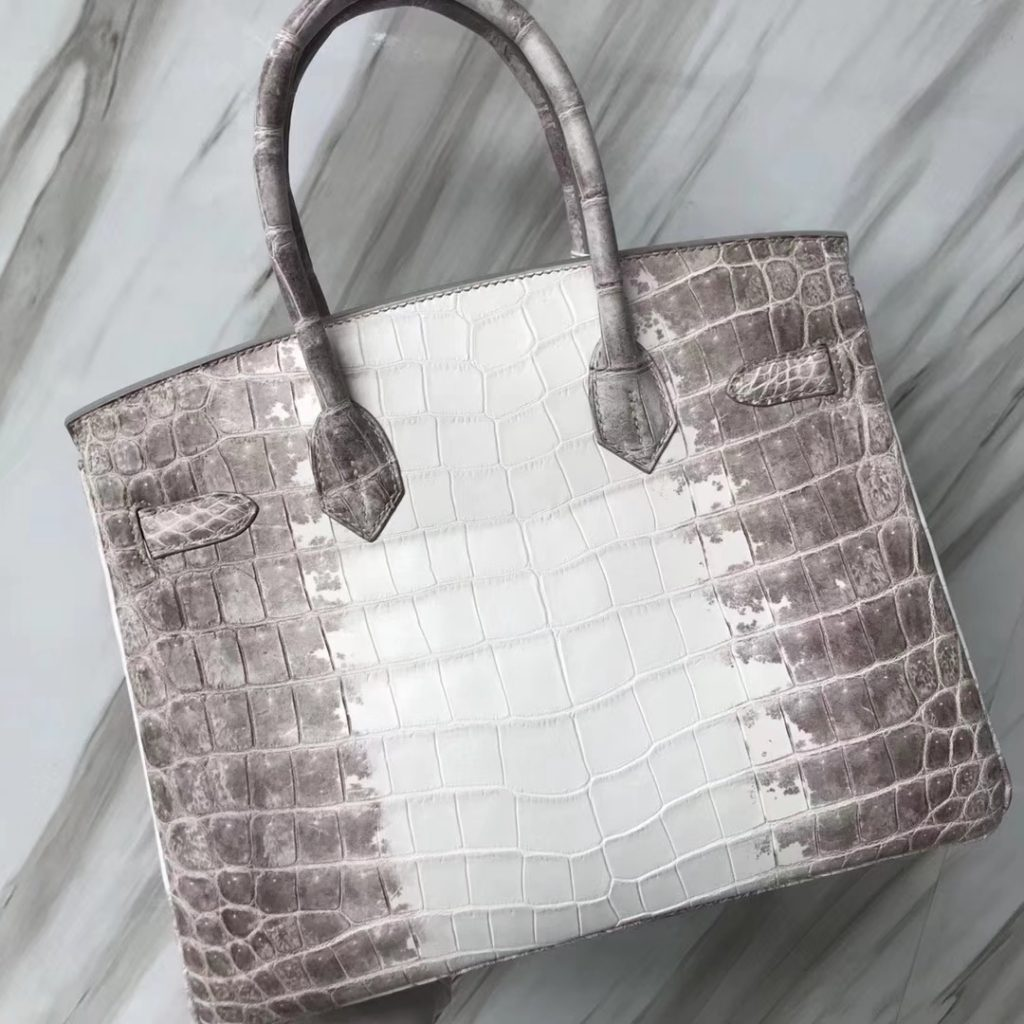 Fashion Hermes Himalaya Crocodile Leather Birkin30CM Tote Bag Silver Hardware