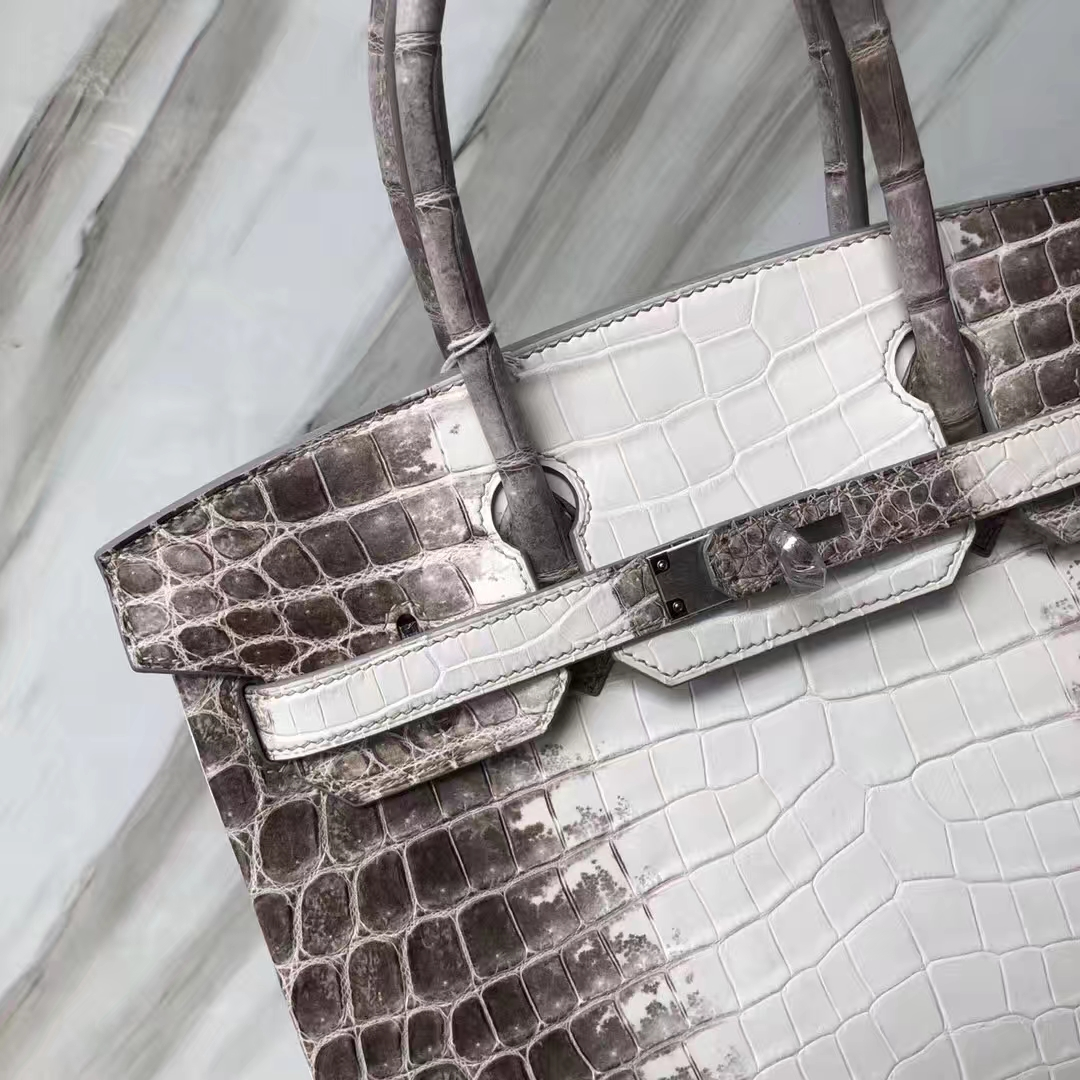 Stock Noble Hermes Himalaya Crocodile Birkin Bag30CM Silver Hardware