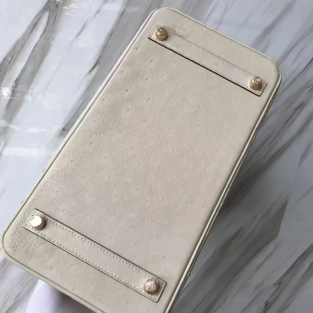 Stock Wholesale Hermes 3C Wool White KK Ostrich Birkin30CM Bag Gold Hardware