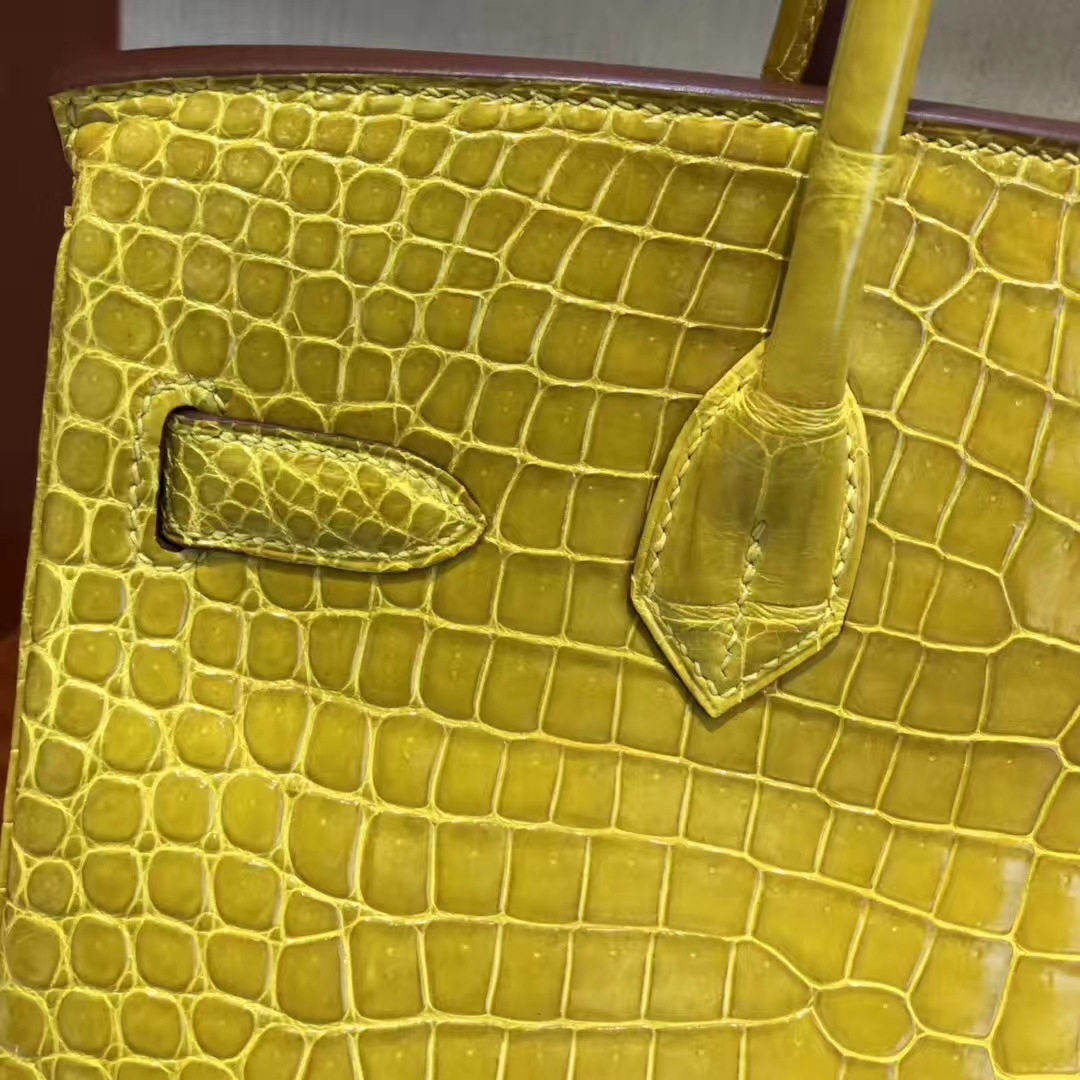Stock Hermes 9D Ambre Shiny Crocodile Leather Birkin30CM Bag Gold Hardware