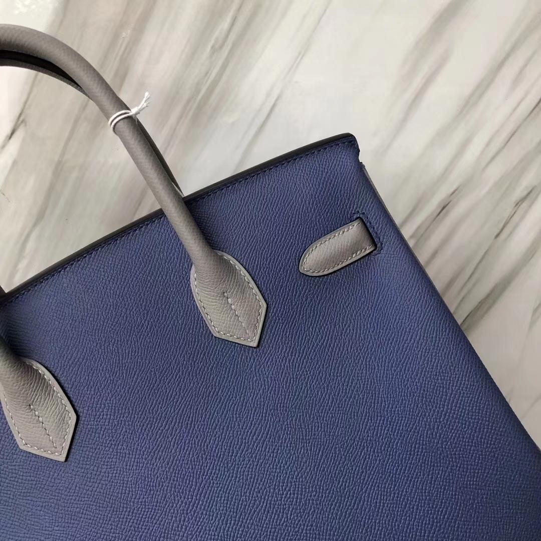 Stock Hermes 7E Blue Brighton/4Z Gris Mouette Epsom Calf Birkin Bag30CM Silver Hardware