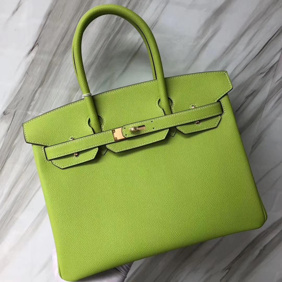 Discount Hermes Birkin30CM Kiwi Green/Olive Green inner Epsom Calf Gold Hardware