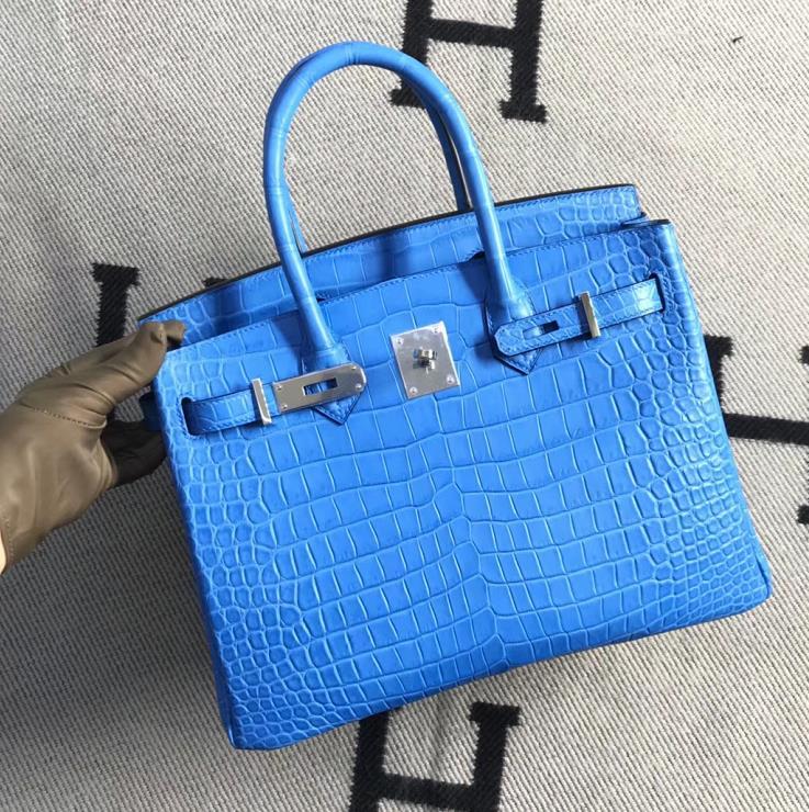 Stock Noble Hermes Blue Sky Matt Crocodile Birkin Bag30CM Silver Hardware