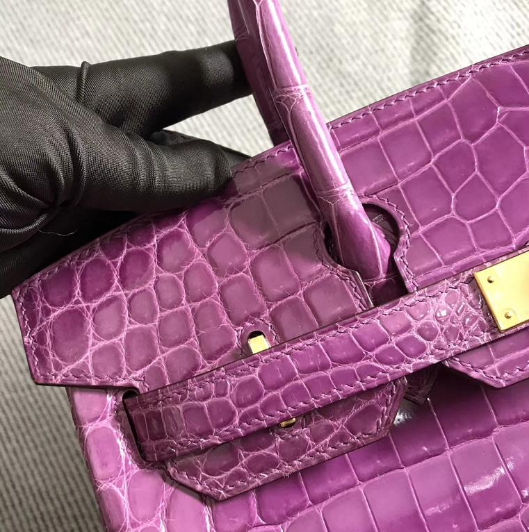 Stock Hermes Shiny Crocodile Birkin Bag30CM in Lavender Purple Gold Hardware