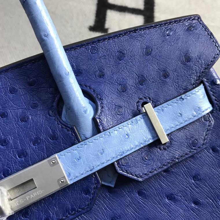 Stock Discount Hermes Blue Ostrich Leahter Birkin30CM Tote Bag Silver Hardware
