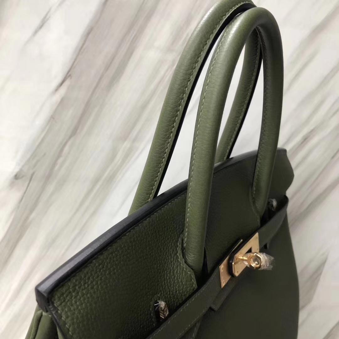 Stock Hermes Togo Calf Birkin30CM Tote Bag in V6 Vert Canopee Gold Hardware