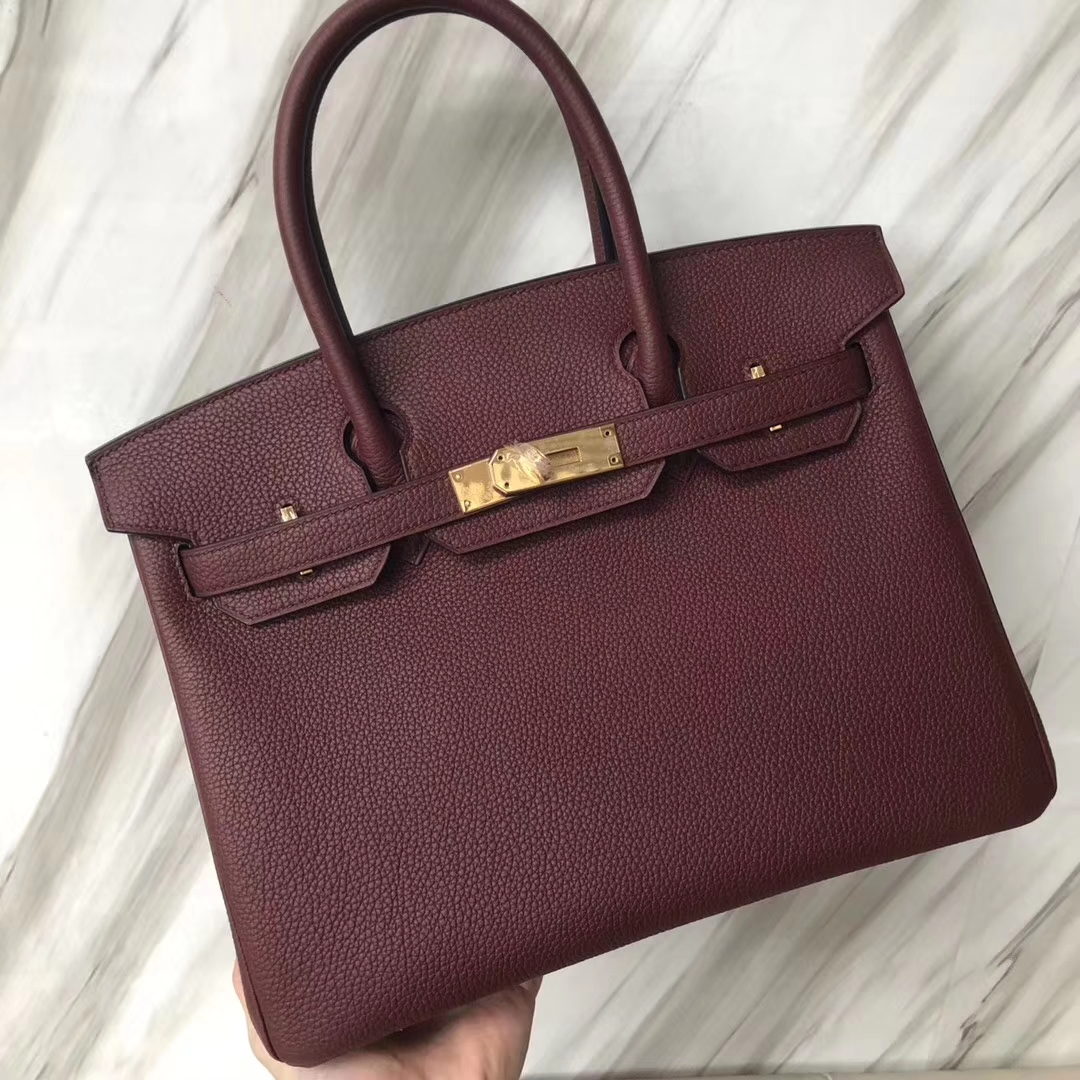 Stock Fashion Hermes CK55 Rouge H Togo Calf Birkin Bag30CM Gold Hardware