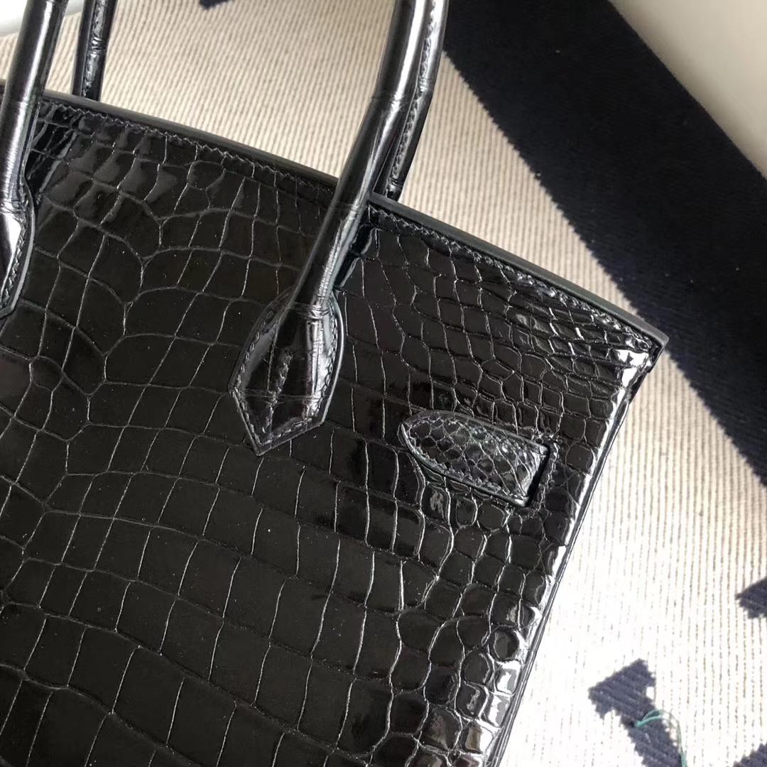 Stock Hermes Shiny Crocodile Birkin Bag30CM in CK89 Noir Silver Hardware