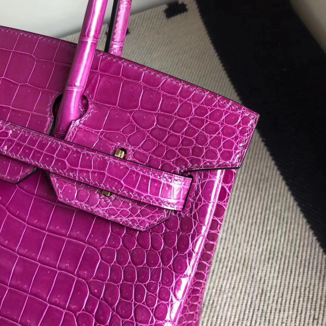 Stock Hermes J5Rose Scheherazade Shiny CrocodileBirkin30CM Bag Gold Hardware