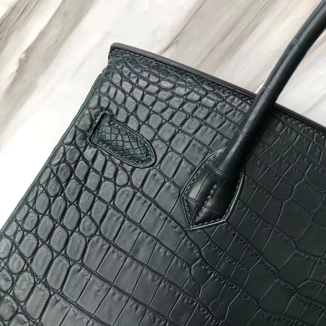 Stock Hermes 1T Vert Tipien Matt Crocodile Birkin Bag30CM Silver Hardware