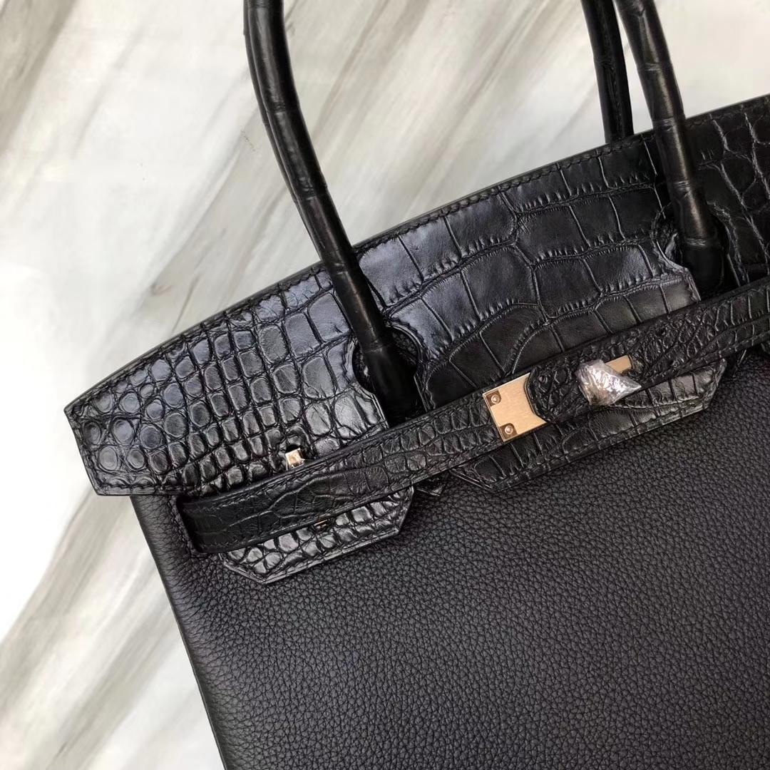 Customization Hermes CK89 Noir Crocodile/Togo Leather Birkin Bag30CM Rose Gold Hardware