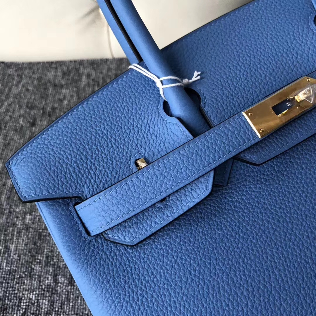 Stock Discount Hermes 2T Blue Paradise Togo Calf Birkin30cm Bag Gold Hardware