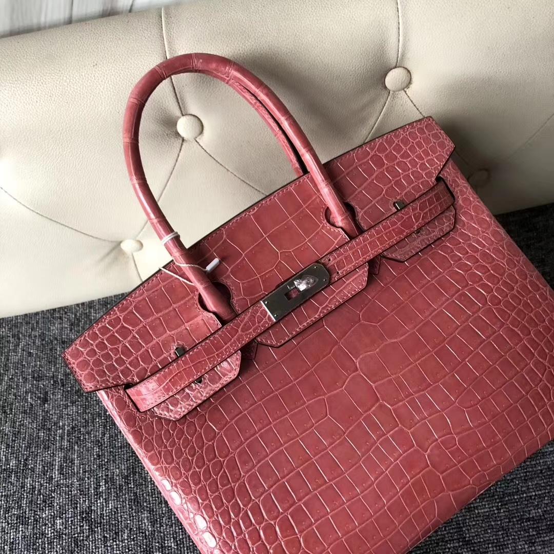 Stock Pretty Hermes Porosus Shiny Crocodile Birkin30CM Bag in L5 Rose Crevetti