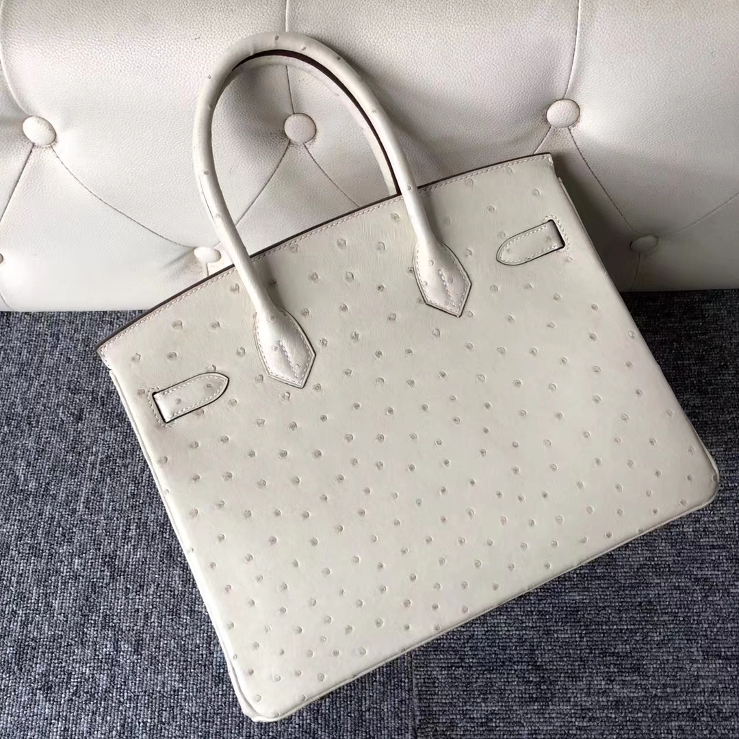 Stock Hermes 3C Wool White Ostrich Leather Birkin30CM Bag Gold Hardware