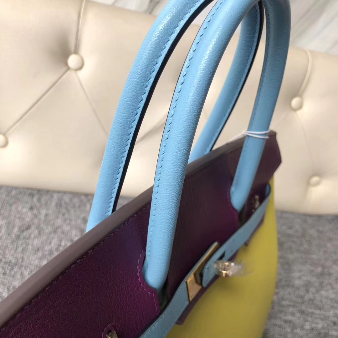 Customization Hermes Tri-color Chevre Leather Birkin30CM Bag Gold Hardware