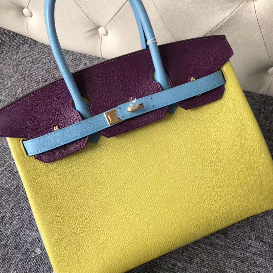Customization Hermes Tri-color Chevre Leather Birkin30CM Bag Gold Hardware