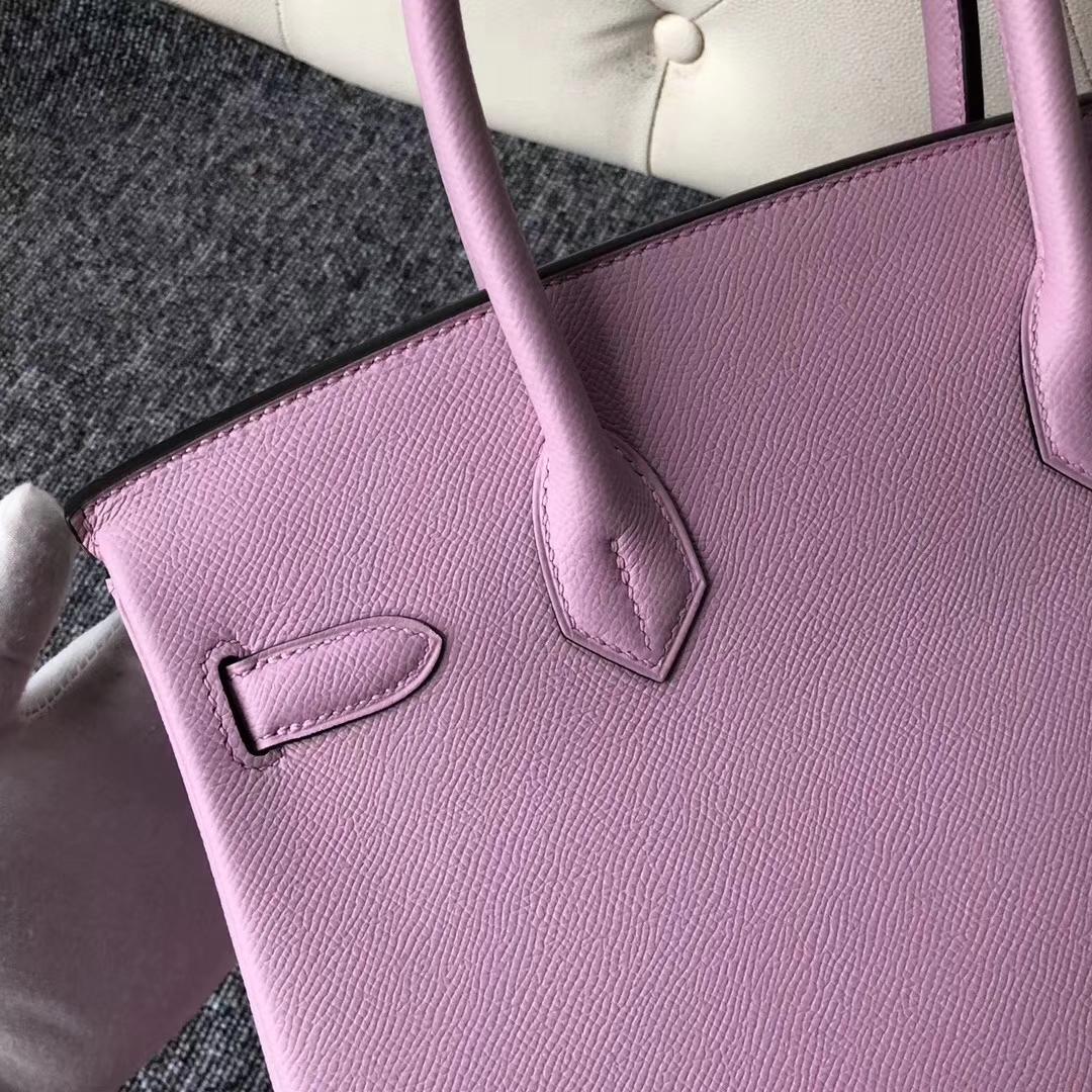 New Arrival Hermes Epsom Calf Birkin Bag30CM in X9 Mallow Purple Silver Hardware