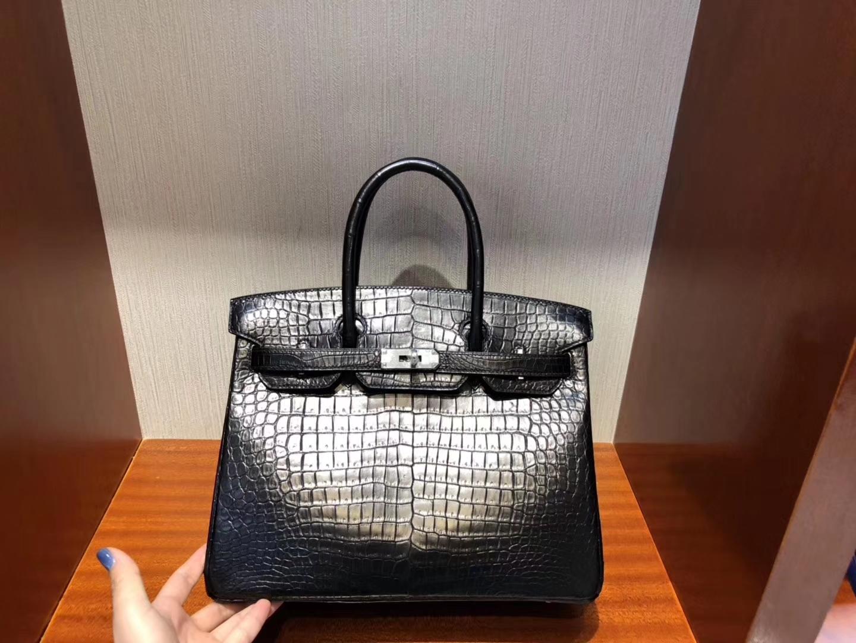 Stock Hermes CK89 Noir Matt Crocodile Birkin30CM Women's Bag Silver Hardware