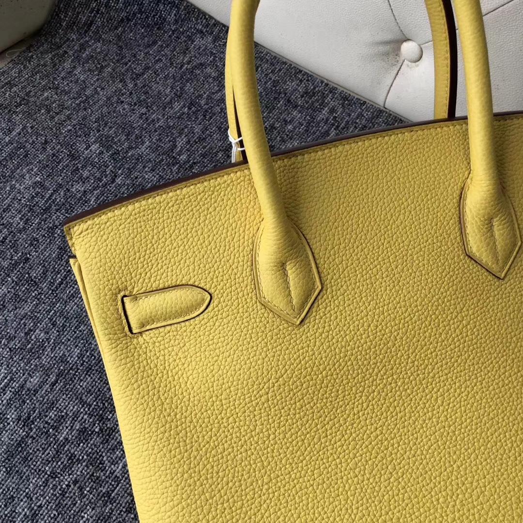 Sale Hermes 9O Jaune De Naples Togo Calf Birkin30CM Bag Silver Hardware