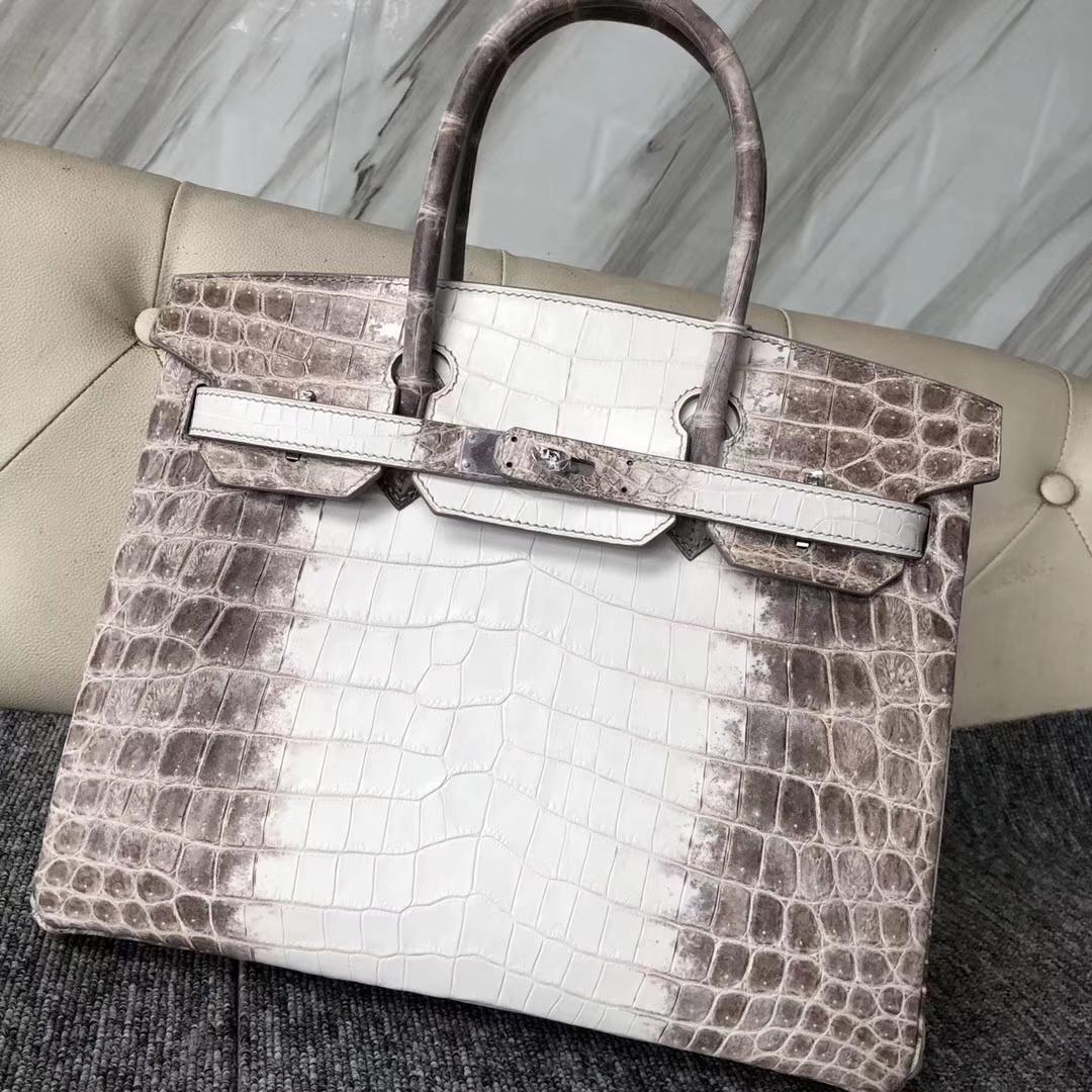 Elegant Hermes Crocodile Leather Birkin Bag30CM in Himalaya Color Silver Hardware