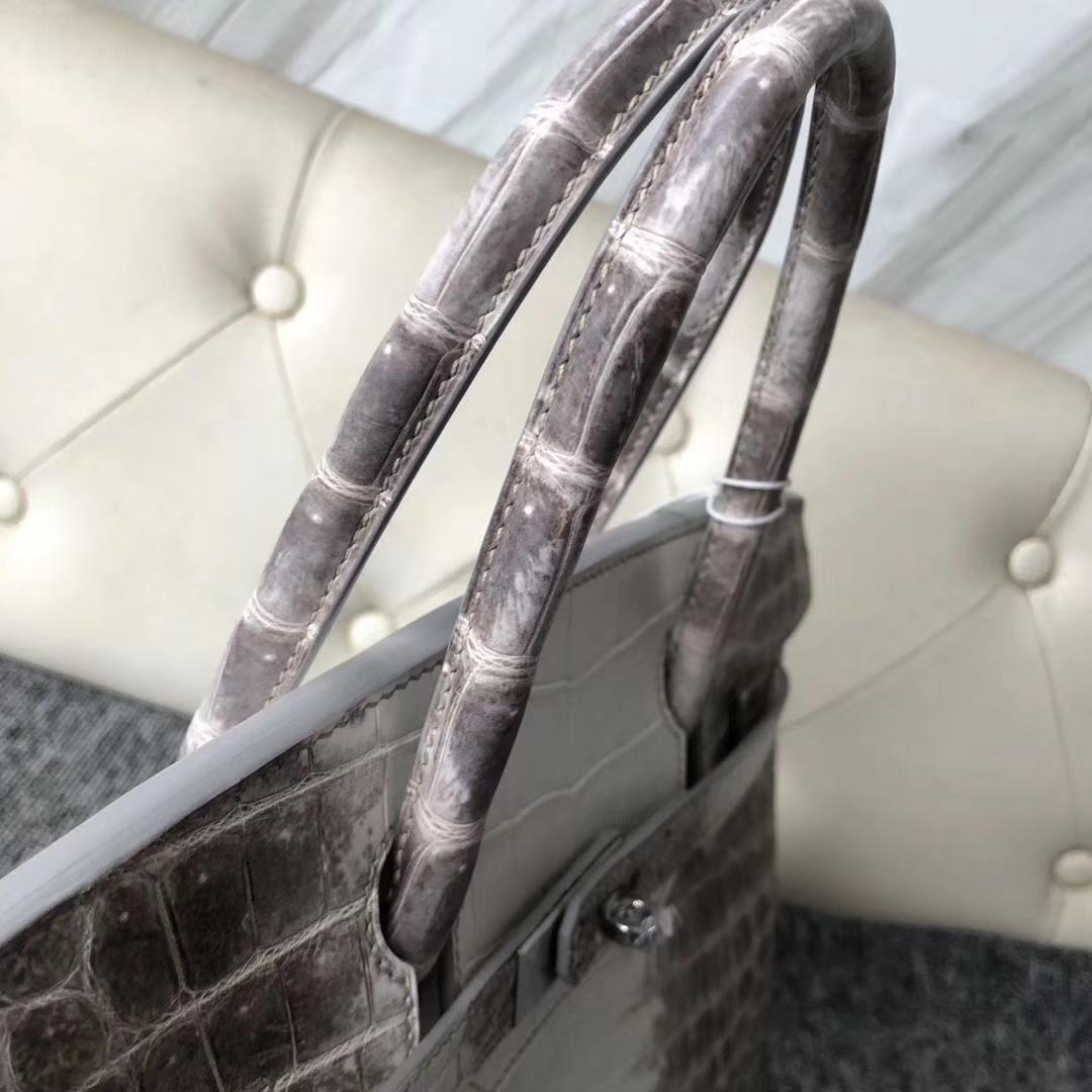Stock Hermes Himalaya White Crocodile Leather Birkin30CM Women's Bag Silver Hardware