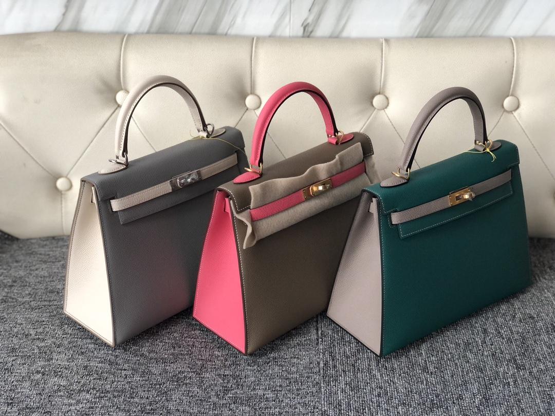 Stock Hermes Multi-color Epsom Calf Kelly25cm Bag Gold/Silver Hardware