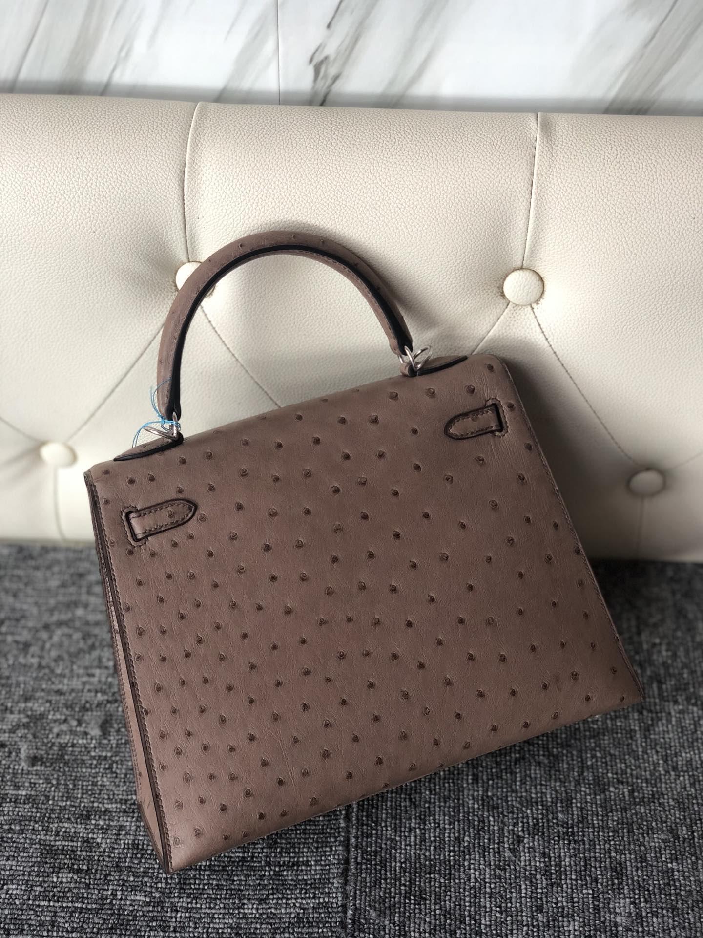 Stock Hermes Mousse Grey KK Ostrich Kelly25cm Bag Silver Hardware