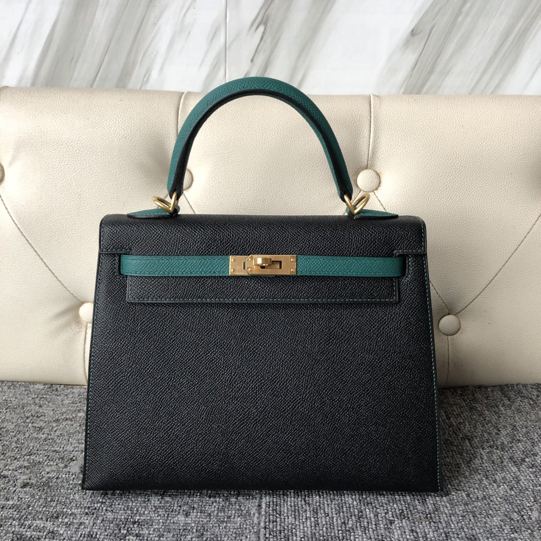 Fashion Hermes CK89 Noir/Z6 Vert Malachite Epsom Kelly Bag25cm Bush Gold Hardware