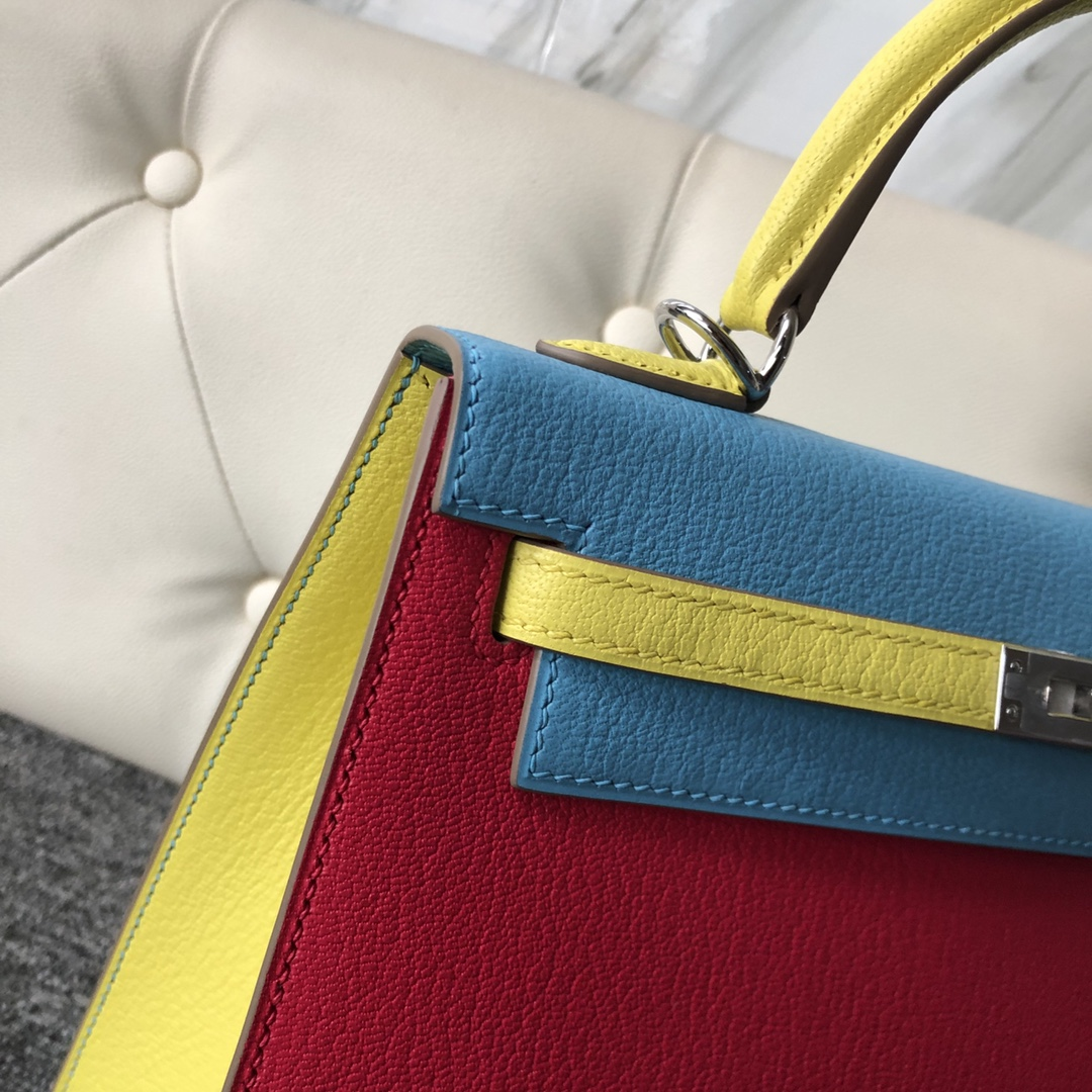 Customize Hermes Tri-color Chever Leather Kelly25cm Bag Silver Hardware