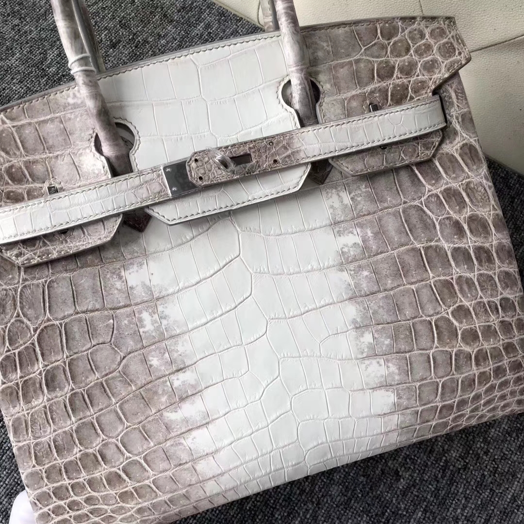 Wholesale Hermes Crocodile Birkin Bag30CM Himalaya Color Silver Hardware